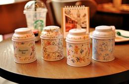 tee-zinn-container Rabatt Blumen-Serie Tee-Box Dose Aufbewahrungskoffer Veranstalter Eisen Fall Vorratsbehälter