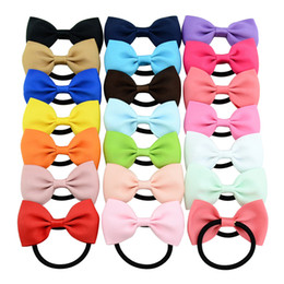 Wholesale Girls Ribbon Ponytail Hair Bow - 2.8 inches Boutique Mini Ribbed ribbon fishtail Hair bows Hairpins Baby girl Ponytail Holder headband Infant Bow Elastic hair bands BY107