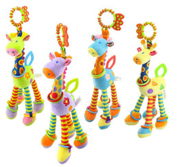 Wholesale Infant Giraffe - New 37cm Giraffe Activity Spiral baby bed pram hanging toys baby stroller toy infant gifts plush product Free shipping