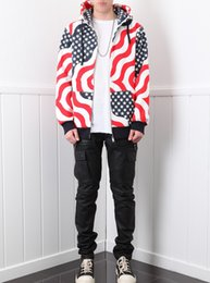 Wholesale American Flag Pullover - Europe and the United States tide brand Sup Bogo Hoodie Flag American stars zipper hooded hooded lovers sweater jacket coat
