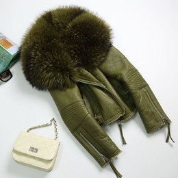 Wholesale Women Genuine Leather Jacket Large - Women Real Sheep Fur Coat Winter Warm Fashion Genuine Merino Sheepskin Leather Jacket Natural Real Large Raccoon Fur Collar Coat