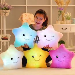 Wholesale Led Pillows - Luminous Star Pillow Christmas Toys Led Light Pillow Plush Pillow Hot Colorful Stars Kids Toys Birthday Gift OTH692