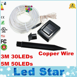 Wholesale Strip Ip68 Blue - 2016 Newest 3M 30LEDs   5M 50LEDs Solar Rope Tube Led String Strip Fairy Light Outdoor Garden Xmas Party Decor Waterproof IP68
