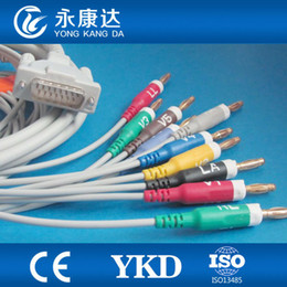 Wholesale Ecg Lead Cable - Schiller one-piece 10-lead ECG EKG Cable with Resistance, AHA Banana4.0 Leadwires , Free shipping
