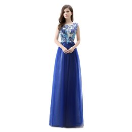 Wholesale Popular Sexy Club Dresses - EmmaNi 2015 New Popular long Flower Tulle Sexy Bohemian Prom Dresses Evening Dresses Sleeveless Formal Party Celebrity dress banquet Gowns