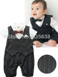 Wholesale New Baby Boy Tuxedo - Wholesale-2015 Hot Sell Baby Boy Clothes-Boys Tuxedo Suit Christening New Formal(NEWBORN)