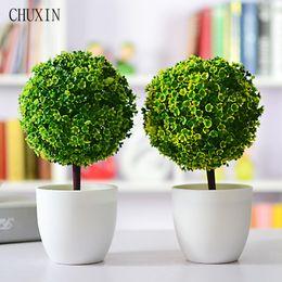 Wholesale Green Decorative Vases - Artificial Plants Ball Bonsai Fake Tree Decorative Green Plants For Home Decoration Garden Decor 4 Colors 1 Set (Plants +Vase )