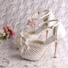 Wholesale White Silver Colors Platform - (21 Colors)Custom Fashionable High Heel Platform Sandals Wedding Bridal Cream Color Satin Free Shipping