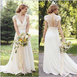 Wholesale Greek Backless Dress - Bohemian Greek Style V-neck Chiffon Wedding Dresses Cap Sleeve 3D Flora Appliques Sweep Train Boho Ivory Lace Bridal Gowns Vestidos de Novia