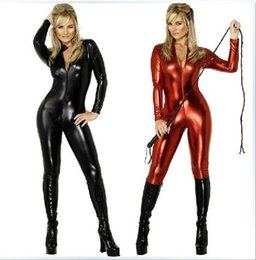 Wholesale Ladies Leather Suits - 2015 Products sell like hot cakes sexy black dark red patent-leather conjoined leather cat ladies costumes spice Catsuit Costumes
