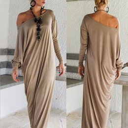 Wholesale Maxi Casual - Wholesale-Womens Maxi Long Dress Long Sleeve Casual Sexy Fall Full Sleeve Loose Wrap Oversize Irregular Elegant Party Dresses vestidos