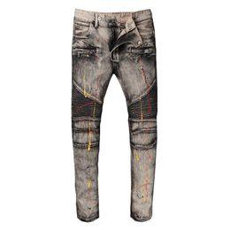 Wholesale Cheap Men Trousers - Famous Brand Pierre Rock Biker Jeans Men Ripped Denim Tearing Jeans Trousers Black Cheap Mens Jeans Casual Pants Ruched Boy Jean