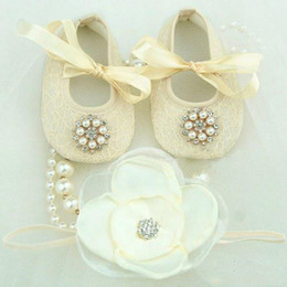Wholesale Vintage Crib - Wholesale-Dream High house #4S1927 retail Baby diamond pearl silk Satin Ballerina Booties Crib Shoes and Vintage Rhinestone Headbands set