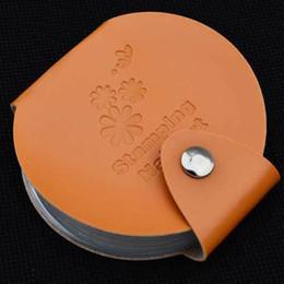 Supporti di immagine online-Rotondi multi colori Nail Stamping Piatti Stamping Nail Image Plate Template Holder Custodia Organizzatore del sacchetto