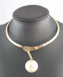 Wholesale Black Pearl Choker Necklace - New Design Chunky Gun Black\ Gold\Silver Statement Chain Big Pearl Bib Collar Necklace
