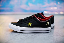 Wholesale Mario Shoes - 2017 New Arrival One Star x Super Mario Bros 40th Anniversary Black White Casual Fashion Running Skateboard Shoes Sneakers 35-44