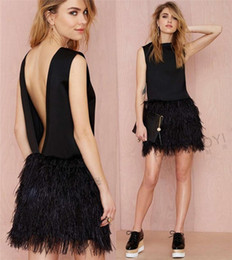 Wholesale Evening Gowns Feathers - 2016 Sexy Black Feather Cocktail Party Dresses A Line Jewel Backless Mini Length Short Dresses For Party Evening Gowns Vestido De Festa
