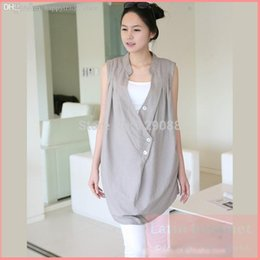 Wholesale Tank Tops For Pregnant Women - Wholesale-Top Grade Cotton Maternity Dresses Loose Tank Sleeveless Casual Dress Maternity Clothes For Pregnant Women 2 Pieces Free Ship