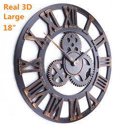 Wholesale Decorative Art Wall Clock - Handmade Oversized 3D retro rustic decorative luxury art big gear wooden vintage large wall clock on the wall for gift