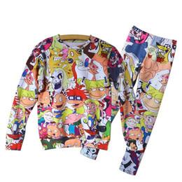 Wholesale Sweat Suit Cartoon - w1213 2015 New adventure time women cartoon casual sports suit hoodies sweats print 3d sweatshirt and pant set clothing