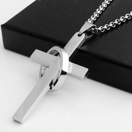 Wholesale Catholic Cross Charms - New fashion Cross Stainless Steel Pendant Necklace Christian Catholic Fashion Religious jewelry Wholesale Jewelry Findings & Components