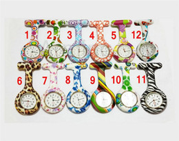 Wholesale Wholesale Leopard Watches - Silicone Nurse Pocket Watch Candy Colors Zebra Leopard Prints Soft band brooch Nurse Watch 11 patterns follower airming
