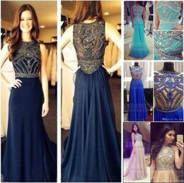 Wholesale Saab Real Pictures - Real Photo Cheap 2015 Evening Dresses Sheer Neckline Crystal Dark Navy Blue Short Sleeves Plus Size Prom Party Formal Gowns elie saab BO5235