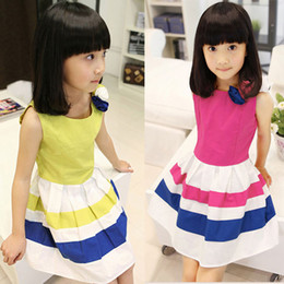 Wholesale Cheap Wholesale Baby Dresses - New 2015 Girls Splicing Striped dress Stereo Flower 100% Cotton Rose White Blue Stripe Vest Baby Kids Dresses Cheap KR01