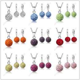 Wholesale Earring Lever Back Set - Wholesale-2015 Hot New Jewelry Sets 925 Sterling Silver Austrian Crystal Pave Disco Ball Lever Back Earring Finding Pendant Necklace Woman