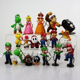 Wholesale yoshi toys - Super Mario keychain Bros Luigi Action Figures toy 18pcs set yoshi mario Gift 3-7cm retail free shipping