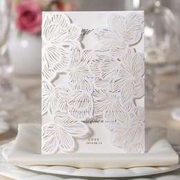 Wholesale Wedding Invitations White Sheet Card - Customized Lace Hollow White Flower Folded Wedding Invitations Blank Inner Sheets Cards 130*180mm Wedding Card Supplies