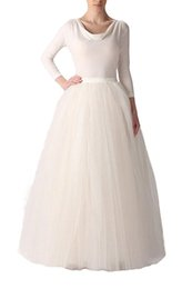 Wholesale Cheap Long Tutu Skirts - Hot Selling Long A-Line Tutu Floor Length Tulle Party Prom Skirt Color Petticoat Half Slip Underskirt Stock Cheap Free Shipping