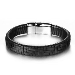 Wholesale Trendy Black Charm Bracelets - Endless August 2017 New arrival Trendy Jewelry Men Bracelet Black braid Leather Bracelets Accessories pulseira de couro