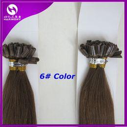 Wholesale Wholesaler Bonding Hair Pieces - Pre bonded Keratin nail U tip hair extensions 20inch 50g 6# Medium Brown Straight 100% Harmony human hair in stock