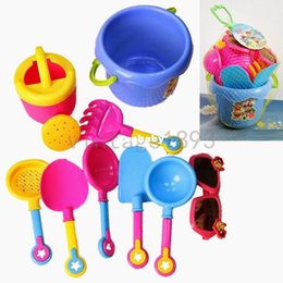 Wholesale Kids Beach Toys Set - 2015 New Arrival Baby Kids Sandy beach Toy Set 9PCs Dredging tool Beach Bucket Sunglass Baby playing with sand water toys