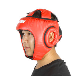 Wholesale Taekwondo Protective Gear - PU Leather Boxing Helmets Muay Thai Sanda Helmets Kick Taekwondo Helmets Sparring Training Head Guard Head Protection Y0858