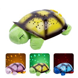 Wholesale Turtle Lamp Kids - Turtle Night Light Lamp LED Musical Turtle Toys Turtle Night Lights Charming LED Stars Constellation LED Projector Toy Turtle Kids Best Gift