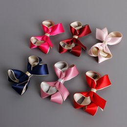 Wholesale Korea Kids Hair Accessories - DHL FREE Korea Girls Hair Clips Double Color Exquisite Silk Ribbon Bowknot Hairpins for Kids Hair Accessories