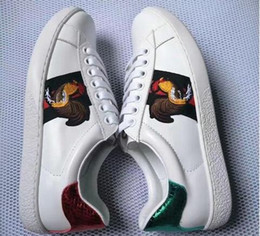 Wholesale White Embroidered Flower Appliques - New White Leather Flats sneakers men women Classic Casual Shoes python tiger bee Flower Embroidered Cock Love sneakers size 35-46