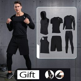 Wholesale Basketball Cloths - Wholesale- 2017 New Men's Running Sports Sets Athletic Suits 6 Pieces Yoga Basketball Training Cloth Sets Men's Sport Soccer Running Suits