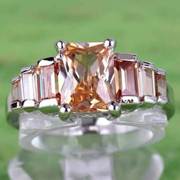 Wholesale Emerald Cut Engagement Rings - 2015 A0055 Round Topaz Lady Engagement Sapphire Hot Sales Emerald Cut Morganite Gemstones Silver Ring Size 7