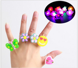 Wholesale Pvc Engagement - hot PVC children cartoon flash ring children soft rubber flicker toys ring mix style