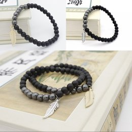 Wholesale Hematite 6mm - New Design Powerful Jewelry for Men with 6mm Hematite Stone Beads Black Crystal Fashion Leaf Pendant Wristband Lava Stone Bracelets D86S