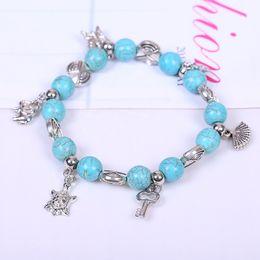 Wholesale Wholesale Diamond Shaped Beads - Bohemia stylish Bracelet shiny eye shape Turquoise Beads charming Bracelet Handmade Accessories Fashion Jewelry free ship