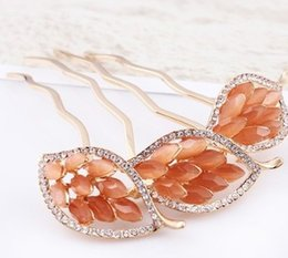 Wholesale Two Crystal Headbands - two color crystal leaves lady's hairpin (10.2*6.5cm) ( myyhmz)
