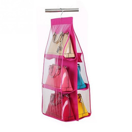 Wholesale Wardrobe Hangers - Wholesale- Wardrobe Closet Hanger Storage Organizer Closet Rack Hangers with 6 Pockets Christmas Gifts Bag Purse Handbag Tote Bag