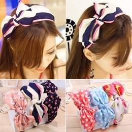 Wholesale Korean Hair Accessories Bow Fashion - Wholesale-Free Shipping Korean Women Headband Plaid Headwear Fashion Wide-brimmed Print Big Bow Headbands Hair Accessories Para Cabelo