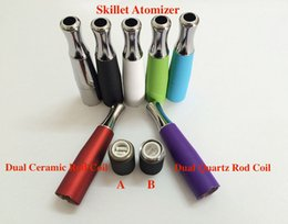 Wholesale E Cigs Cartomizer - dual ceramic coils wax quartz electronic cigarette skillet atomizer ego-d dual coil vaporizer Vapor-D skillet dual coil E cigs cartomizer