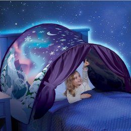 Wholesale Baby Mosquitos - Baby Mosquito Net Includes Reading Light Fold Type Dream Tents Unicorn Moon White Clouds Cosmic Space Mosquitos Curtain For Home 27hs B