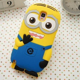 Wholesale Case Galaxy Note Minions - 3D Cute cartoon minion silicon skin cover For sumsung note 5 N9200 minions soft silicone case For Galaxy Note 4 N9100